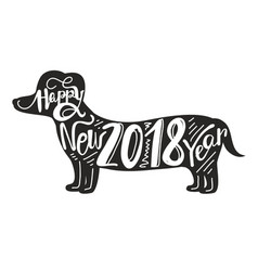 Celebration background with dog 2018 vector