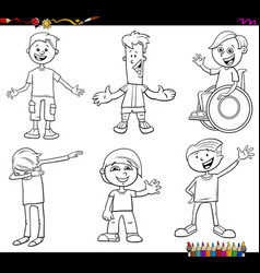 Children or teenager characters set coloring book vector