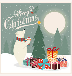 christmas card with polar bear that adorns the vector image