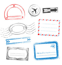 colored grunge passport and mail stamps designs vector image