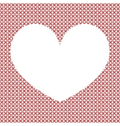 Cross-stitch background with heart vector