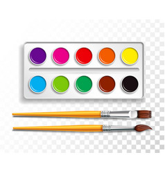 design set of bright watercolor paints in box with vector image