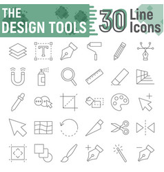 Design tools thin line icon set graphic signs vector