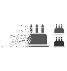 Disintegrating pixel halftone birthday cake icon vector
