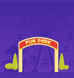 Entrance to the amusement park circus carousel vector