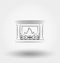 Fireplace icon line vector