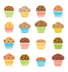 flat icons chocolate and fruit muffins vector image