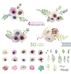 Flowers and leaves - in watercolor style vector