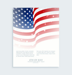 flyer 4th july with american flag vector image