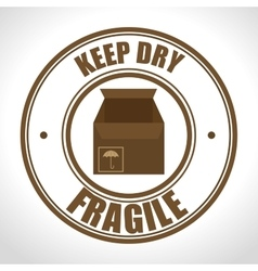 Fragile seal delivery service d icon vector