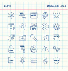 Gdpr 25 doodle icons hand drawn business icon set vector