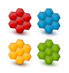 glossy three dimensional colorful honeycomb icons vector image
