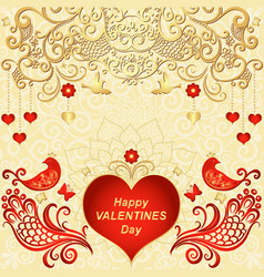 gold valentines frame with red hearts vector image