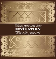 golden invitation vintage floral pattern vector image