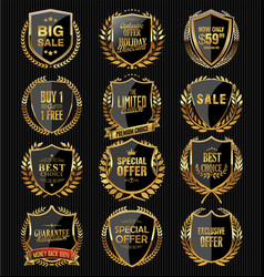 golden quality shields collection vector image