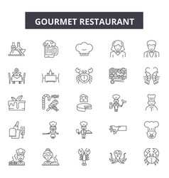 Gourmet restaurant line icons signs set vector