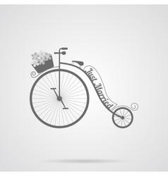 Gray Wedding Retro Bicycle Flat Icon vector image