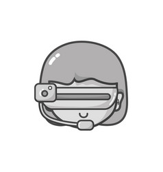 Grayscale girl head with 3d glasses to virtual vector