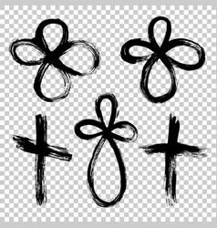 Hand drawn set cross grunge cross cross made vector