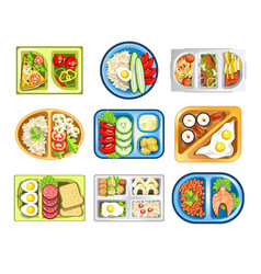 Healthy food lunch on tray school snack isolated vector