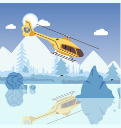 Helicopter hovering over frozen lake winter vector