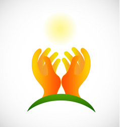 Hopeless hands and light sun icon vector