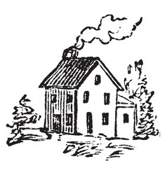 House with a chimney vintage vector