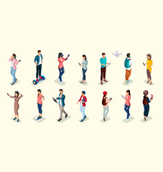 isometric teenagers stylish students uses hi tech vector image