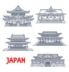 Japanese religious travel landmark thin line vector