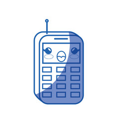 kawaii phone icon vector image