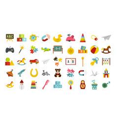 kid toys icon set flat style vector image