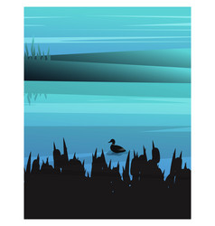 Landscape background with dark silhouettes vector