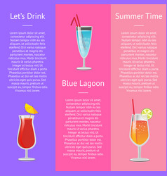 Lets drink blue lagoon summer time banner text vector