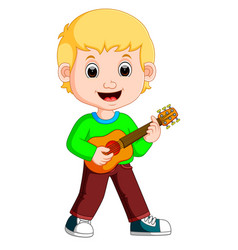 Little boy cartoon playing guitar vector