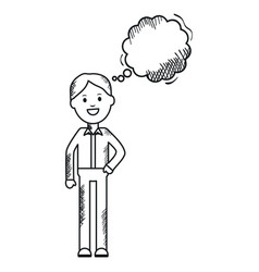monochrome man with speech bubble avatar character vector image