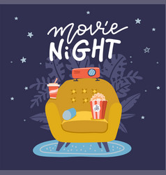 movie night banner design trendy concept design vector image