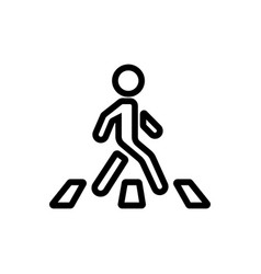 moving man on pedestrian crossing icon vector image