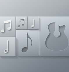 Music Guitar with Notes Design Template vector image