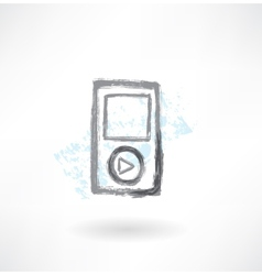 Music player grunge icon vector