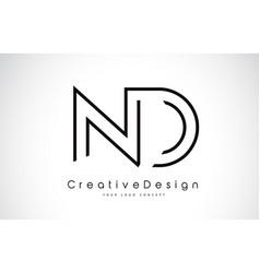 Nd n d letter logo design in black colors vector