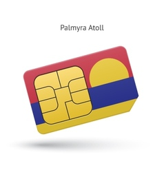 Palmyra Atoll mobile phone sim card with flag vector image