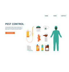 Pest control service a flat landing page vector