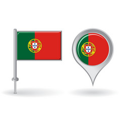 Portuguese pin icon and map pointer flag vector