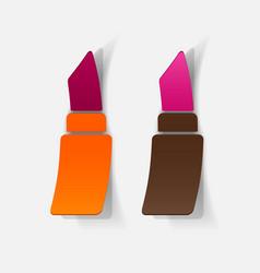 Realistic paper sticker lipstick vector