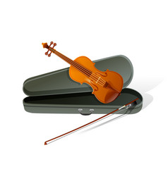 realistic violin isolated white background vector image