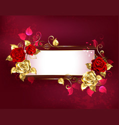 rectangular banner with red roses vector image