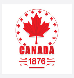 red canada day 1876 maple leaf emblem icon vector image