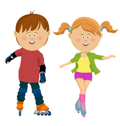 Roller skaters skating girl and boy teen friends vector