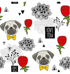 romantic seamless pattern with cute pugs and red vector image