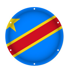 round metal flag - democratic congo screw holes vector image